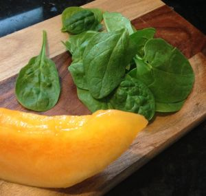 Spinach and cantaloupe